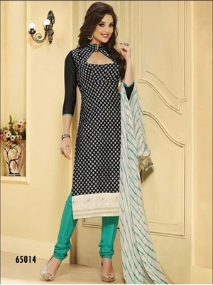 Picture of 65014Black and Sea Green Chudidar Suit