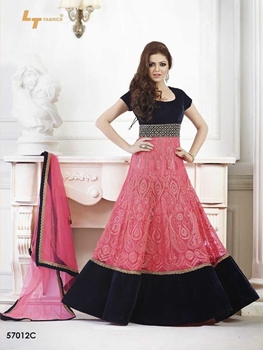 Picture of 57012C Pink and Black Anarkali Suit