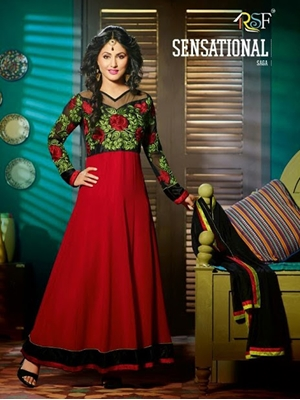 Picture of 6005Red and Black Anarkali Suit