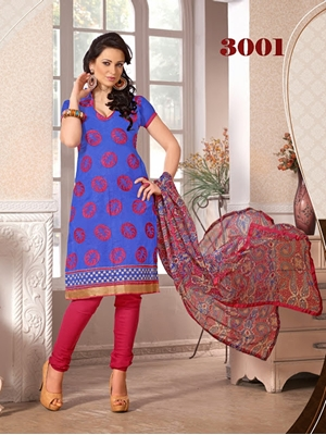 Picture of 3001 Designer Blue Chudidar Suit