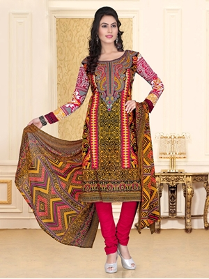 Picture of 1003Yellow and Red Chudidar Suit