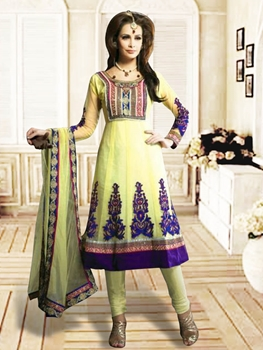 Picture of 1211Light Yellow and Dark Purple Anarkali Suit
