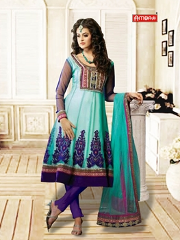 Picture of 1204Sea Blue and Dark purple Anarkali Suit