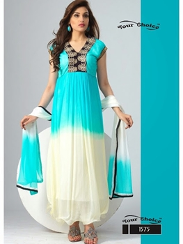 Picture of 1575 Sea Blue and Ivory Chiffon Anarkali Suit