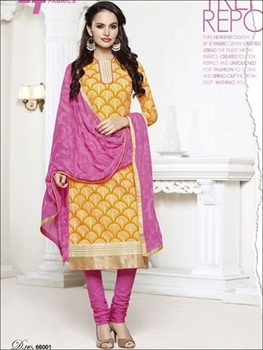 Picture of 66001Chrome Yellow and Pink Chudidar Suit