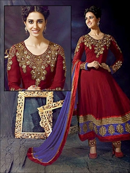 Picture of 1002 Maroon Red and Blue Anarkali Suit