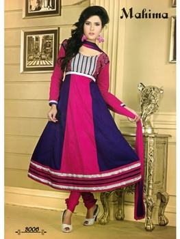 Picture of 3006Pink and Dark Purple Anarkali Suit