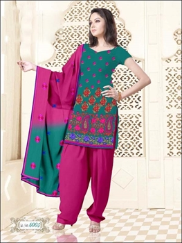 Picture of 6003 Teal Green and Pink Salwar Suit