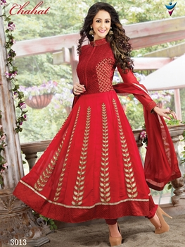 Picture of 3013Red and Golden Anarkali Suit