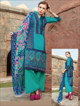 Picture of 0012SeaGreen and Blue Printed Cambric with Neck Work Daily Wear Designer Suit