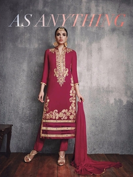 Picture of 24002 Deep Pink and Beige Embroidered Faux Georgette Party Wear Straight Designer Suit