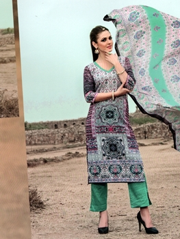 Picture of 1011Multicolor and SpringGreen Printed Cotton Daily Wear Straight Suit