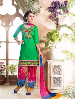 Picture of 8102Green and Multicolor Embroidered Cotton Party Wear Patiyala Suit