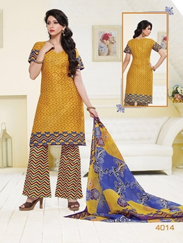 Picture of 4014GoldenYellow and Multicolor Printed Cotton Daily Wear Salwar Suit Dress Material