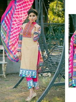 Picture of 81Beige Pink and Blue Embroidered Printed Cotton Daily Wear Straight Suit