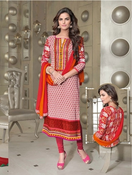 Picture of 61007Red White and Orange Cotton Party Wear/Daily Wear Straight Suit