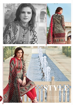 Picture of 1009WheatBrown and Red Party Wear Printed Pure Glace Satin Cotton Straight Suit