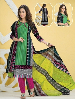 Picture of 5Green Black and Pink Pali Camric Cotton Daily Wear Straight Suit