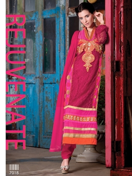 Picture of 7018Red and DarkMagenta Party Wear Embroidered Georgette Long Straight Suit