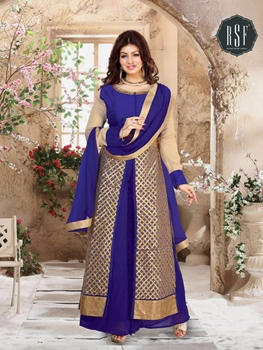 Picture of 11204RoyalBlue and Golden Pure Silk Party Wear Plazzo Suit