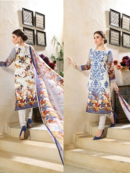 Picture of 1004RoaylBlue and Multicolor Printed and Embroidered Faux Georgette Party Wear Straight Suit