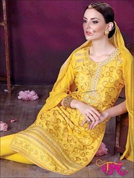 Picture of 102Yellow Daily Wear Embroidered Satin Cotton Designer Suit