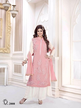 Picture of 2008Pink and White Party Wear Semi Georgette Designer Suit