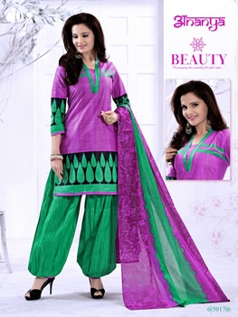 Picture of 5017DeepLavender and AquaGreen Daily Wear Printed Cotton Salwar Suit