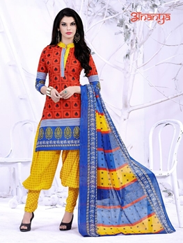 Picture of 5010Red and Yellow Daily Wear Printed Cotton Salwar Suit