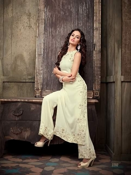 Picture of 2202Ivory Party Wear Georgette Designer Replica Suit