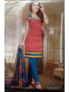 Picture of 2014Red and Blue Cotton Daily Wear Chudidar Suit