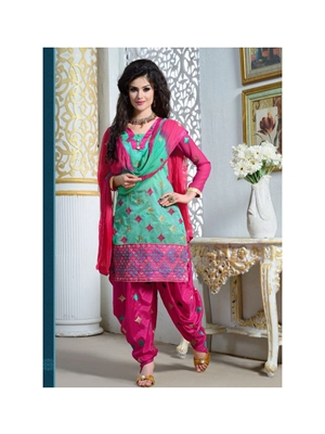 Picture of 1611AquaBlue and Magenta Party Wear Chanderi Cotton Patiyala Suit