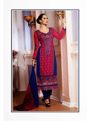 Picture of 3309SamonRed and NavyBlue Party Wear Georgette Straight Suit