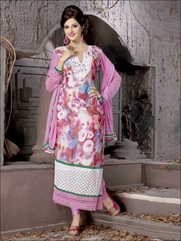 Picture of 8004Pink and Multicolor Georgette Party Wear Digital Print Straight Suit