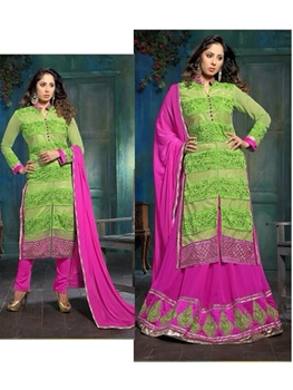 Picture of 921Green and Magenta Party Wear Embroidered Designer Suit