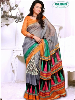 Picture of 19012A Orange and SlateBlue Daily Wear Cotton Based Saree