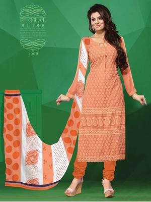 Picture of 1009 Orange Party Wear Georgette Straight Suit