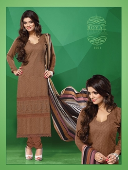 Picture of 1001DarkBrown Party Wear Georgette Straight Suit