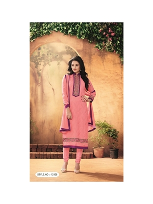 Picture of 12106FlamingoPink Party Wear Foux Georgette Straight Suit