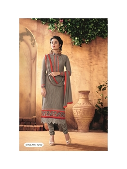 Picture of 12102TanBrown Party Wear Foux Georgette Straight Suit