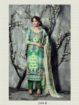 Picture of 25806B Seagreen and Green Party Wear Digital Printed Long Straight Suit