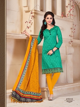 Picture of 45010Green and TurmericYellow Daily Wear Bangalore Silk Chudidar Suit