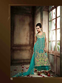 Picture of 149SeaGreen Wedding Wear Embroidered Georgette and Net Designer Suit