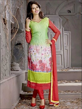 Picture of 8005Red and Multicolor Georgette Party Wear Digital Print Straight Suit