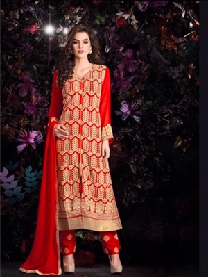 Picture of Red Georgette Party Wear Replica Suit