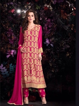 Picture of Bright Pink Georgette Party Wear Replica Suit