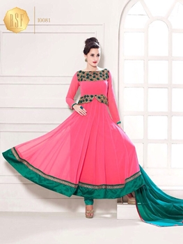 Picture of 10081BrightPink and SeaGreen Party Wear Georgette Anarkali Suit