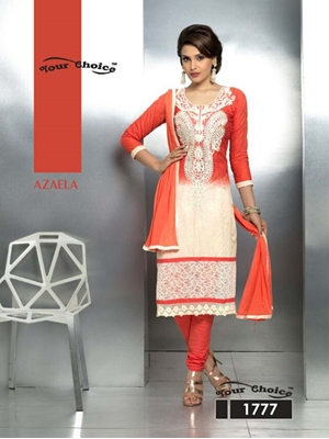 Picture of 1777 Firebric Red and Ivory Party Wear Nazneen Straight Suit