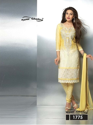 Picture of 1775 Light Yellow Party Wear Nazneen Straight Suit
