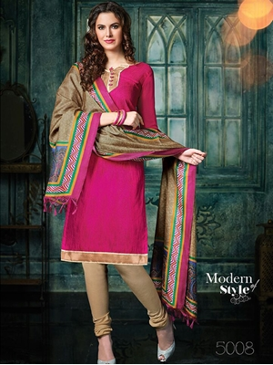 Picture of 5008Magenta and SandyBrown Banarasi Jacquard Daily Wear Straight Suit